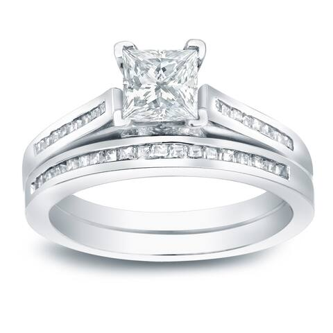 Auriya Platinum 1 1/2ctw Princess-cut Diamond Engagement Ring Set