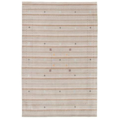 ECARPETGALLERY Hand Loomed Gabbeh Luribaft Khaki Wool Rug - 6'2 x 9'5
