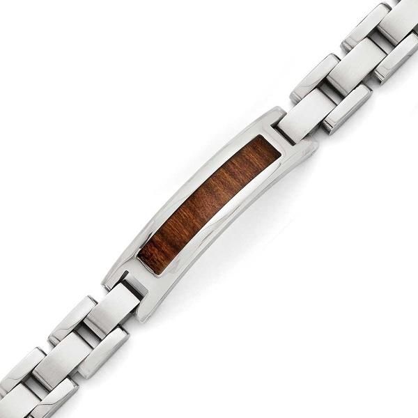 Chisel Stainless Steel Polished/Brushed Brown Wood Enameled Bracelet