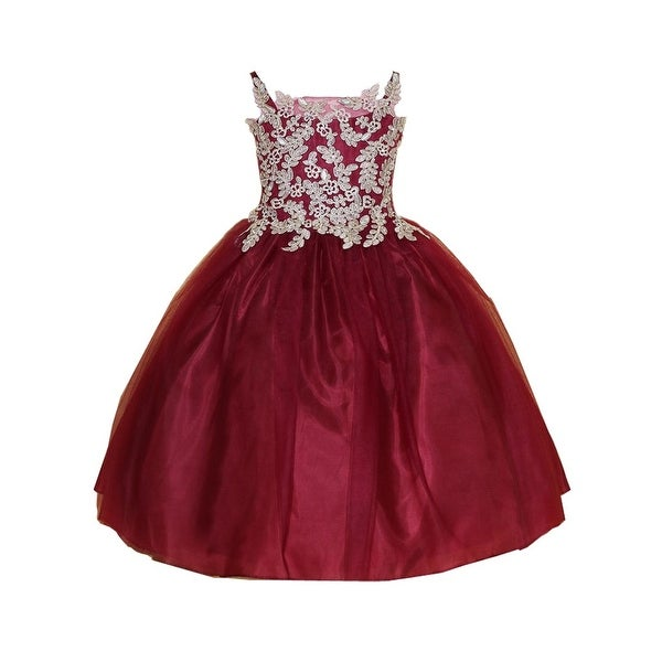 2755f5b555cd Shop Little Girls Burgundy Gold Embroidery Strap Flower Girl Dress - Free  Shipping Today - Overstock - 21611234