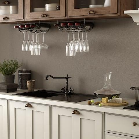 Wallniture Piccola Under Cabinet Wine Bottle Holder and Stemware Rack (Set of 2)