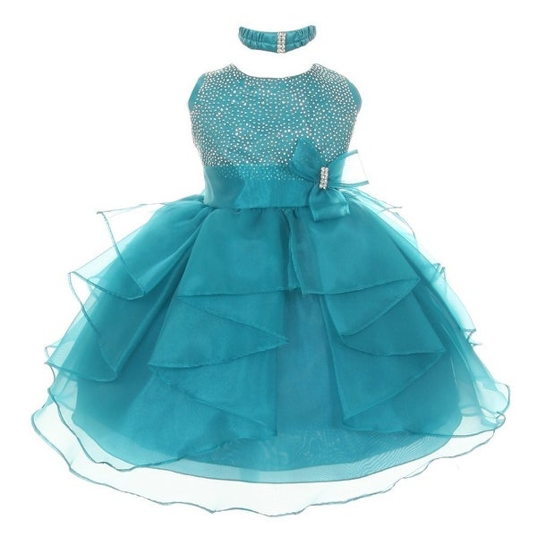 Baby Girls Teal Organza Rhinestuds Bow Sash Flower Girl Dress 6-24M