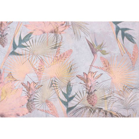 "Brewster 8-212 Tropical Concrete 145"" x 100"" Botanical Non-Pasted - Pink"