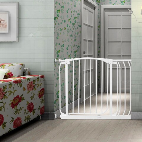 Gymax Baby Safety Gate Door Toddler Child Pet Metal Easy Locking System W/ Extension - as pic