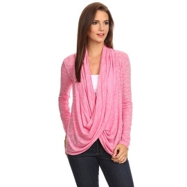 Women's Metallic Pink Long Sleeve Criss Cross Cardigan Small to 3XL Made in USA