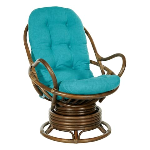 Kauai Rattan Swivel Rocker Chair with Brown Frame