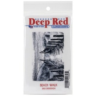 Deep Red Stamps Beach Walk Rubber Cling Stamp - 3 x 2