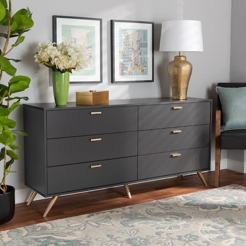 Kelson Modern Dark Grey and Gold Finished Wood 6-Drawer Dresser