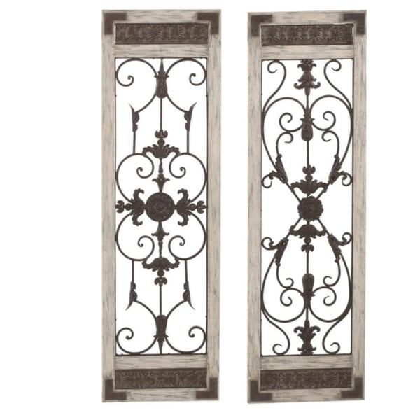 """Set of 2 Assorted Vintage Scrolling Wall Mounted and/or Door Decorations 47.25"""" - N/A"""