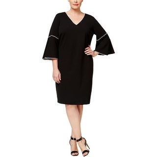 Calvin Klein Womens Plus Cocktail Dress Bell Sleeves Sheath