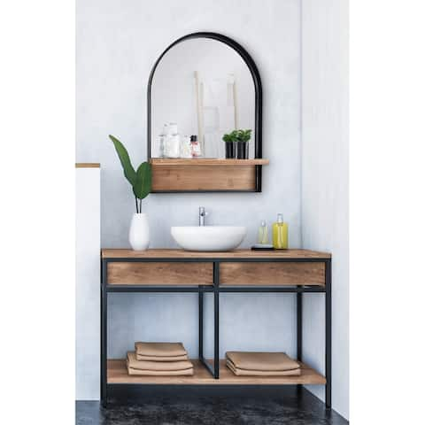Kate and Laurel Owing Framed Arch Mirror with Shelf - Black - 24x32