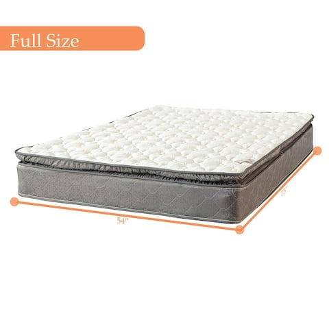 10-Inch Pillow Top Foam Encased Medium Plush For Advanced Back Support Mattress and 8-Inch Wood Box Spring/Foundation Set,