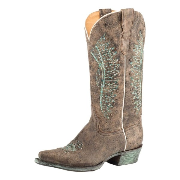 Roper Western Boots Womens Snip Leather Brown