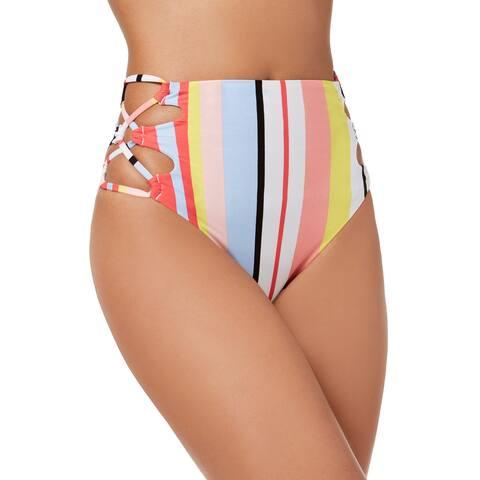 Bar Iii Women's Stripe Printed Lace-Up High-Waist Bikini Bottoms, (Multi XS) - XS