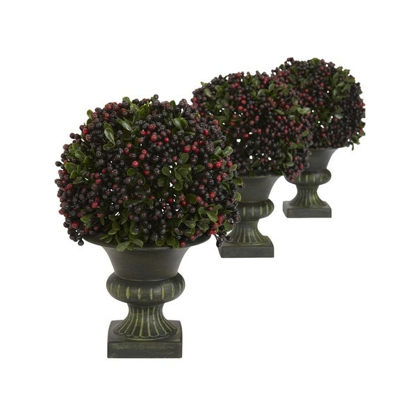Nearly Natural Pepper Berry Ball Topiary - Set of 3