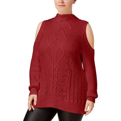 Rachel Rachel Roy Womens Plus Mock Turtleneck Sweater Fall Cold Shoulder