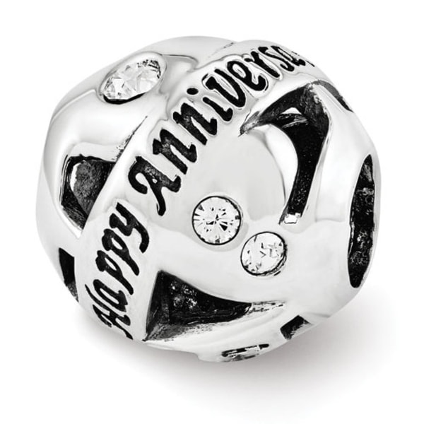 Sterling Silver Reflections Swarovski Elements Anniversary Collage Bead (4mm Diameter Hole)