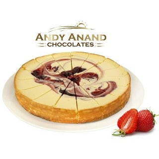 """Andy Anand Strawberry Swirl Cheesecake 9"""" (2 lbs) With Greeting Card"""