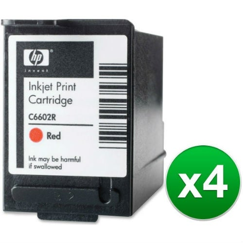 HP Red POS Ink Cartridge High Yield (C6602R) (4-Pack)