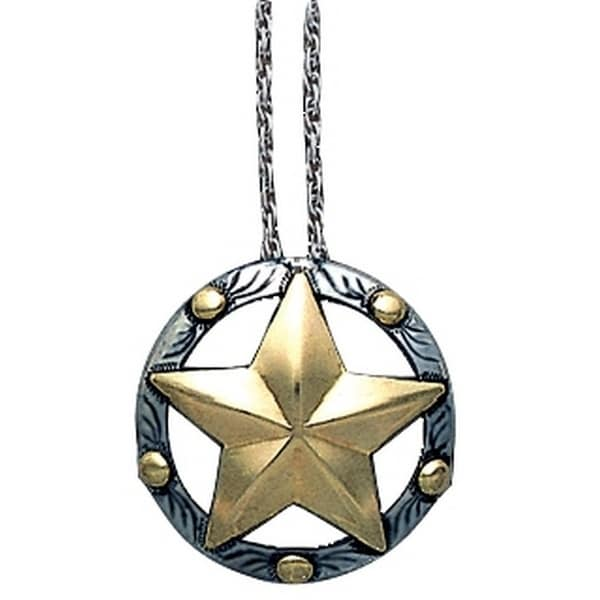 "Vogt Western Women Necklace Disc Star Beads 18"" Silver 016-137 - silver gold"