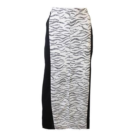 Kensie Eggshell Colorblocked Printed Maxi Skirt L