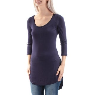 ULTRA FLIRT $16 Womens New 3449 Navy Long Sleeve Hi-Lo Top S Juniors B+B