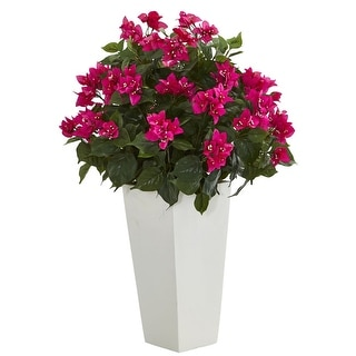 "Nearly Natural 31"" Bougainvillea Artificial Plant in White Tower Planter"