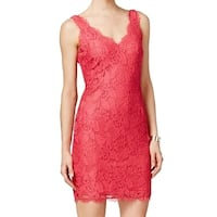 Adrianna Papell Pink Women's Size 8 Floral Lace Sheath Dress