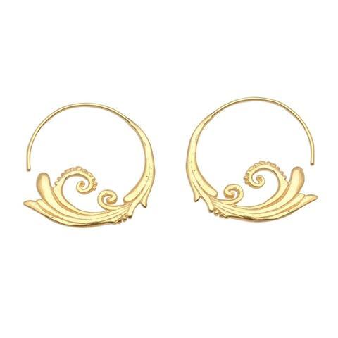 NOVICA Keramas Surf, Gold plated half-hoop earrings