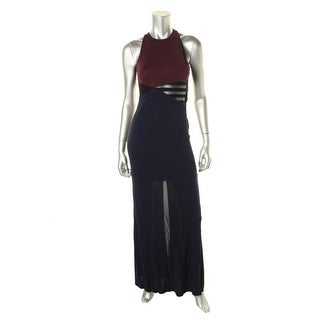 ABS by Allen Schwartz Womens Faux Leather Colorblock Evening Dress - M