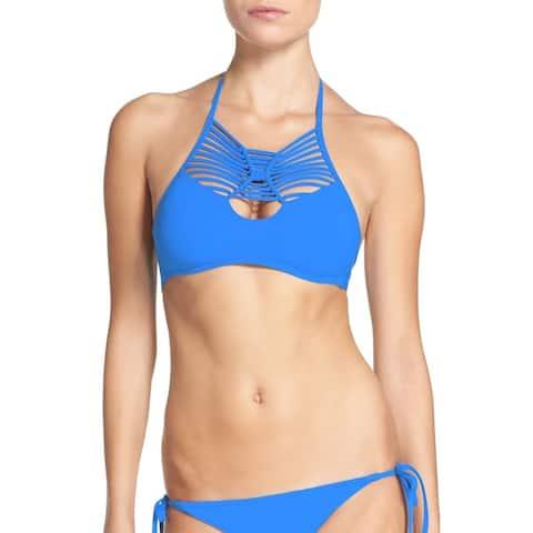 Becca by Rebecca Virtue Womens Swimwear Blue Large L Halter Bikini Top