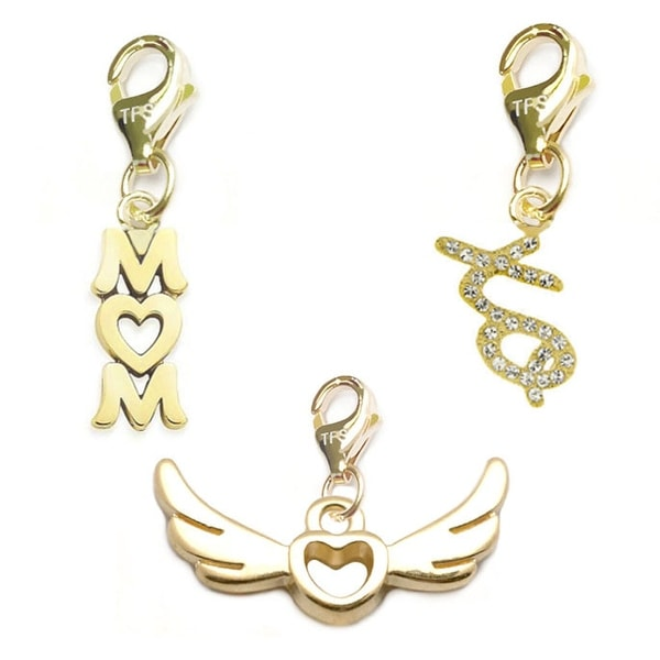 Julieta Jewelry Wings Of Love, Mom, XO 14k Gold Over Sterling Silver Clip-On Charm Set