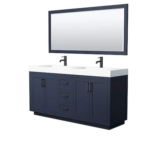Miranda Double Vanity Set, 4-Inch Solid Surface Top, 70-Inch Mirror