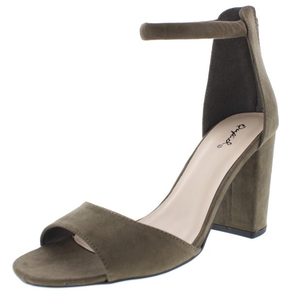 Qupid Womens Chester Dress Sandals Microsuede Ankle Strap