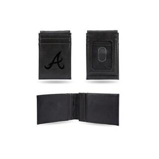 4 Black MLB Atlanta Braves Laser Engraved Front Pocket Wallet N A