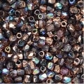 True2 Czech Fire Polished Glass, Faceted Round 2mm, 50 Pieces, Light Amethyst Copper Rainbow - Thumbnail 0