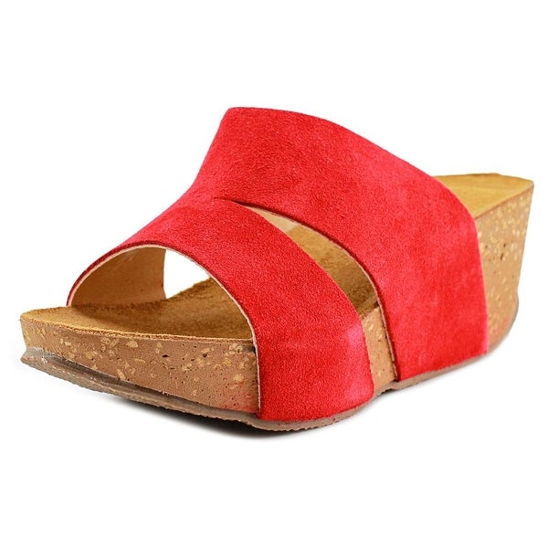 David Tate Toni Women Open Toe Suede Red Slides Sandal