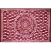 Handmade Cotton Batik Tulsi Leaf Mandala Tapestry Tablecloth Spread Red Queen