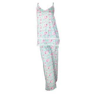 CTM® Women's Cotton Cami Top and Pant Pajama Set