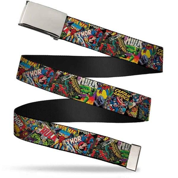 "Marvel Comics Blank Chrome 1.0"" Buckle Retro Marvel Comic Books Stacked Web Belt 1.0"" Wide - S"