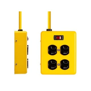 Monoprice4 Outlet Power Box, 180 Joules, Metal with 6ft Cord (Yellow)