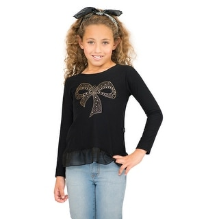 Pulla Bulla Little Girls' Long Sleeve Shirt Pleated Graphic Tee (Option: 5)