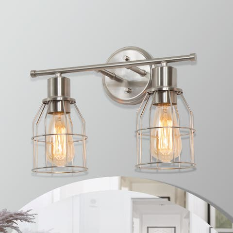 "Industrial 2-light Nickel Bathroom Vanity Light Cage Wall Sconce - L 14.5"" * W 6.5"" * H 11"""