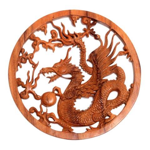 "Handmade Kinabalu Dragon Wood Relief Panel (Indonesia) - 11.5"" H x 11.5"" W x 0.8"" D"