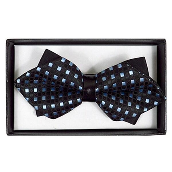 Men's Black And Blue  Checkered Diamond Tip Bow Tie - DBB3030-8