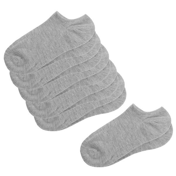 Unique Bargains Lady Low Cut Design Elastic Cuffs Chic Gray Crew Socks Pair 6-pack