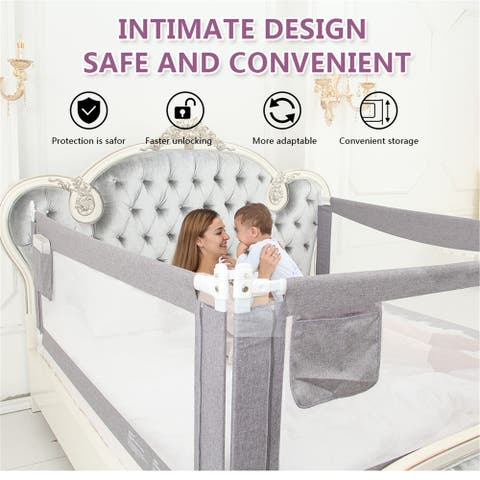 70'' & 80'' Extra Long and Tall Baby Bed Rail Guard for Baby Kids Child Infants
