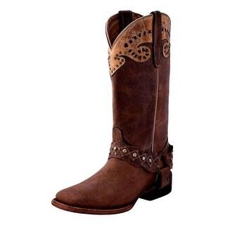Ferrini Western Boots Womens Outlaw Strap Crystal Block Mocha 82693-14