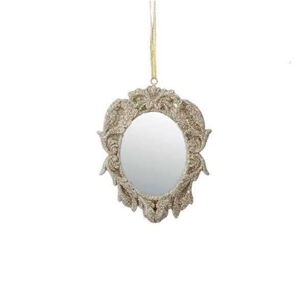 """3.75"""" Rich Elegance Champagne Gold Glittered Opulent Oval Mirror Christmas Ornament"""