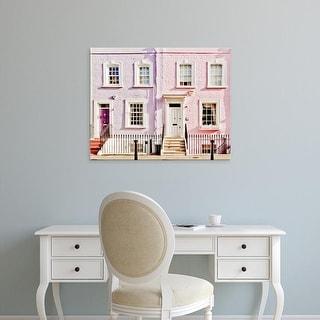 Easy Art Prints Keri Bevan's 'London Pink Purple Houses' Premium Canvas Art